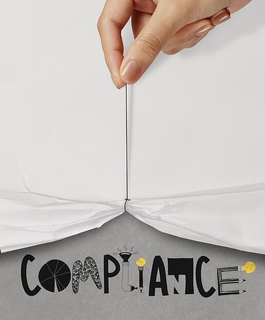 business hand pull rope open wrinkled paper show COMPLIANCE design text as concept